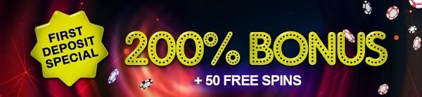 200 bonus + 50 free spins