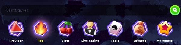 Wazamba Casino slots and table games