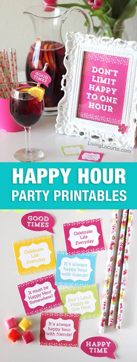 Fun Happy Hour Party Ideas and recipes! Call some friends and have a girl's day or night out with these simple Happy Hour Party Ideas and Free Printable Decorations!