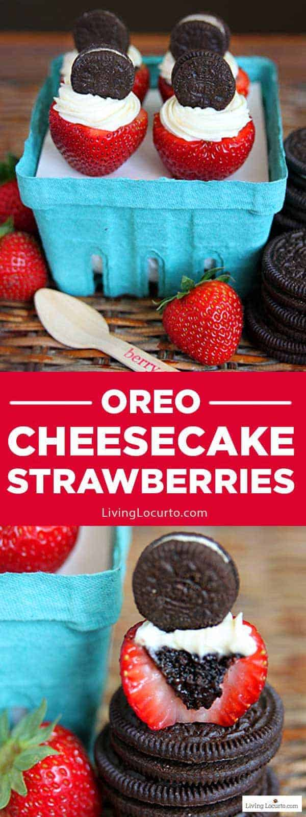 OREO Cheesecake Stuffed Strawberries are the best of strawberries and OREO cheesecake in one fabulous bite! Easy no-bake chocolate strawberry dessert is a perfect bite sized recipe for any party. LivingLocurto.com