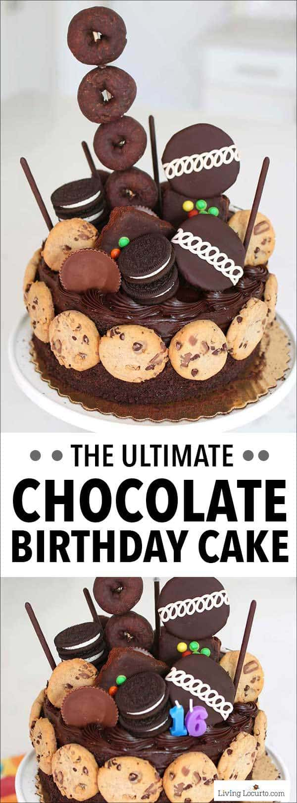 Make the Ultimate Chocolate Birthday Cake in minutes with this easy no bake dessert idea! A fun semi-homemade cake no chocolate lover could resist. 16th birthday party ideas. #cake #chocolate