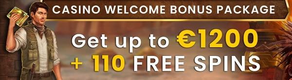110 free spins and 1200 EUR welcome bonus to Eaglebet.com
