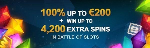 100% bonus and 4200 extra spins