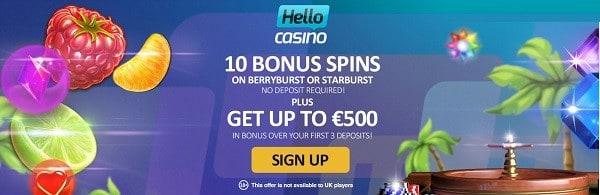 Hello Casino exclusive welcome bonus (no deposit required)