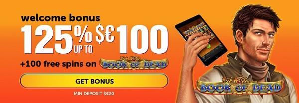 125% bonus and 100 gratis spins
