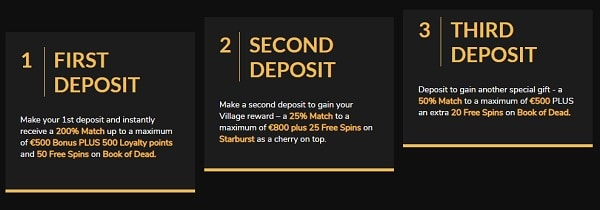 3 deposit bonuses with up to 1800 EUR and 95 free spins