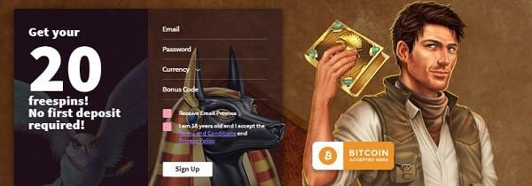 Wild Blaster Casino 20 free spins on Book of Dead slot