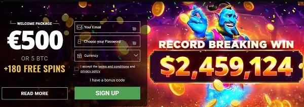 200 free spins and bitcoin bonus