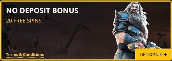 20 free spins on sign-up, no deposit bonus