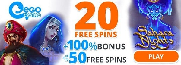 20 free spins + 100% bonus + 50 gratis spins