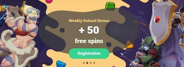 50 free spins reload bonus