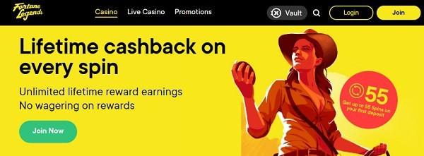 FortuneLegends cashback and no wager spins