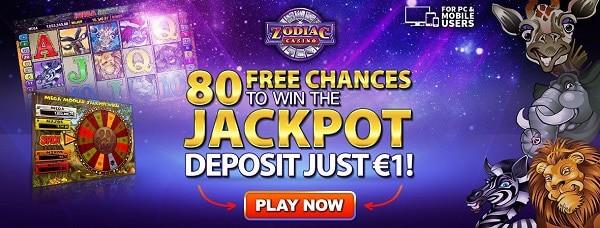 Zodiac Casino 80 free spins bonus