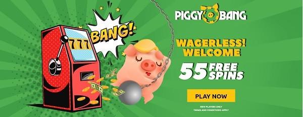 Piggy Bang Casino 55 free spins on 1st deposit