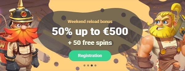 Yoyo 50% extra bonus and 50 gratis spins