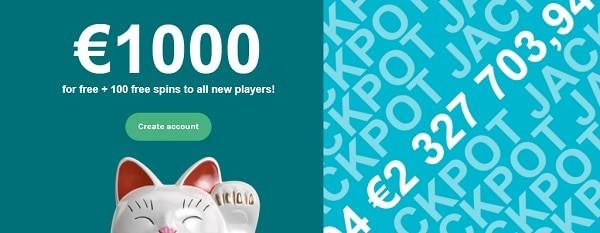 $1,000 bonus + 200 free spins (20 FS no deposit)