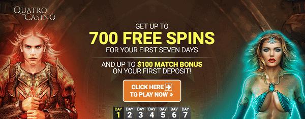 Quatro Casino 700 free spins and 100 EUR bonus