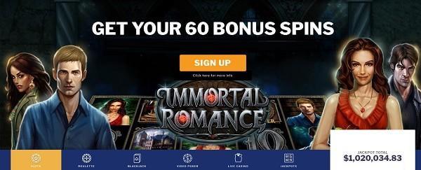 60 Free Spins on Immortal Romance