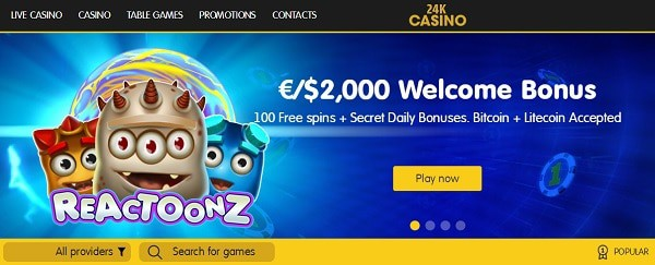 €/$2,000 welcome bonus and 100 free spins on deposit