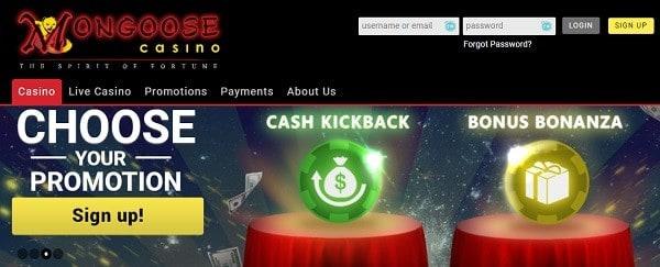 MongooseCasino.com promotions