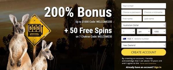 200% bonus and 50 free spins