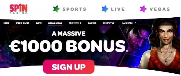 Spin Palace 100 free spins and $1000 free bonus
