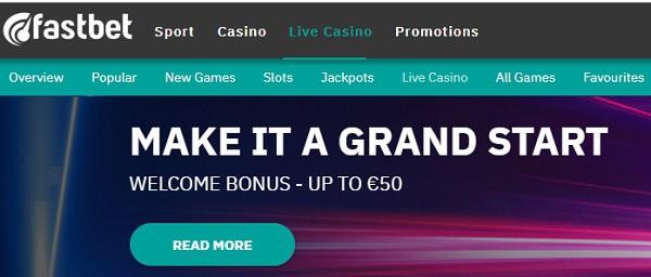Fastbet Casino 50 EUR free bonus