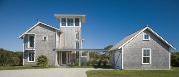 try a beachside exterior with white cedar shingle and a detached garage with simple breezeway
