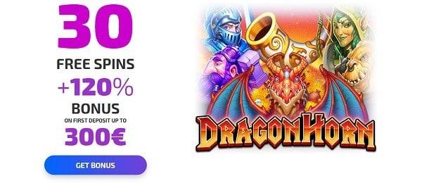 30 free spins on Dragon Horn no deposit bonus code