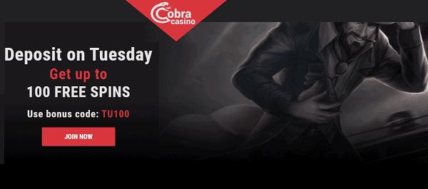 Cobra 100 gratis spins
