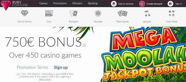 MEGA MOOLAH and other jackpots at Ruby Fortune