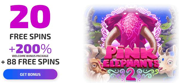 20 free spins + 200% bonus