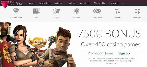 750€ gratis + 100 freespins bonus