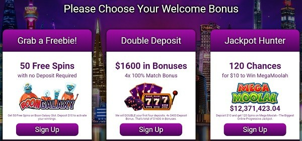 Please Choose Your Welcome Bonus & Free Spins