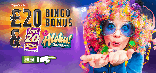20 free spins on Aloha Cluster Pays