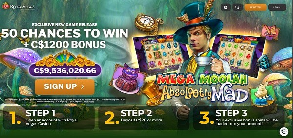 Abslotutely Mad 50 free spins in Royal Vegas