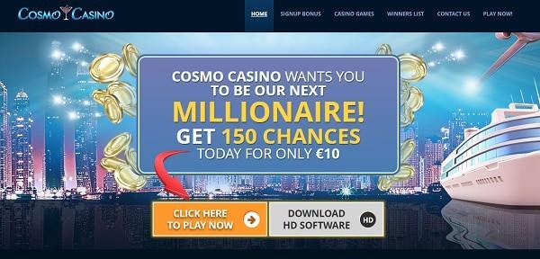 Cosmo Casino 150 free chances on Mega Moolah