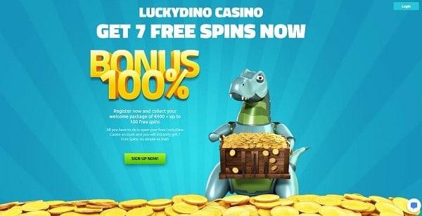 LuckyDino.com 7 free spins