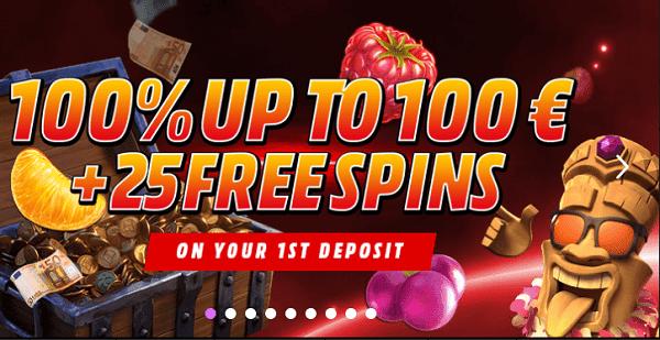 100% bonus and 25 Free Spins (NETENT)