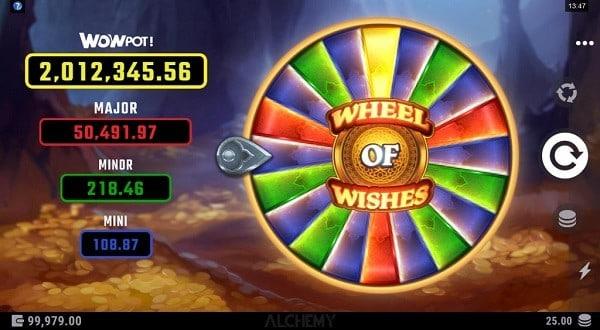 Wheel of Wishes progressive jackpots