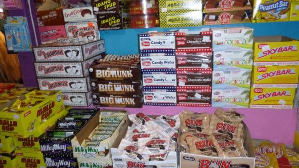 Boxes of candy bars at gandpa joe's, including regional favorites like skybar
