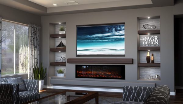 symmetrical wall with linear fireplace and tv can create a warm and calming living room