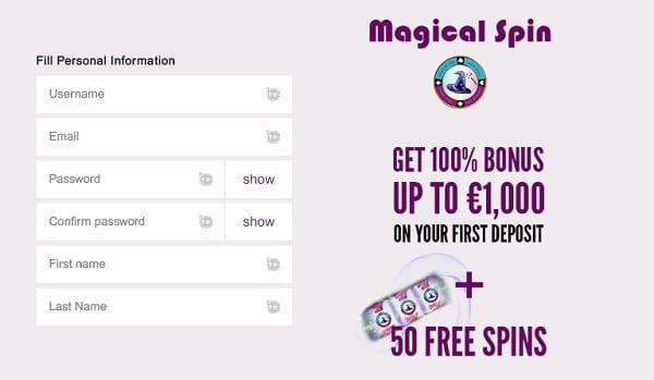 Magical Spin register now and get 7 EUR bonus