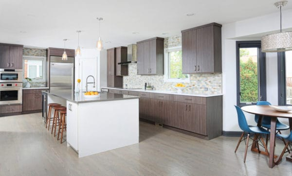 embrace the farmhouse style and urban aesthetics with brown cabinets and white kitchen island
