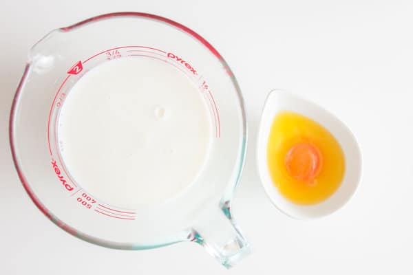 Egg whites and yogurt get mixed separately from the yolks and butter
