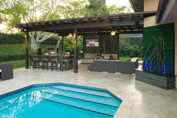 build a metal roof for the pergola over an outdoor bar, entertainment area, and large pool