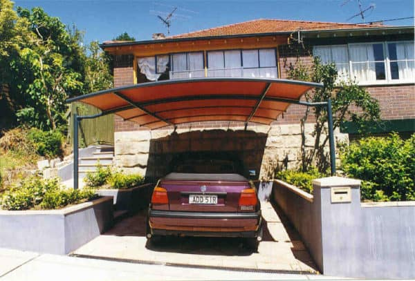 use a batten carport awning for a traditional-looking front of house