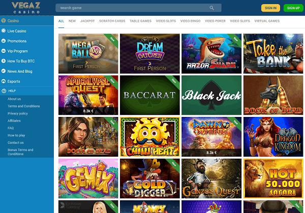 Vegaz CasinoHomepage