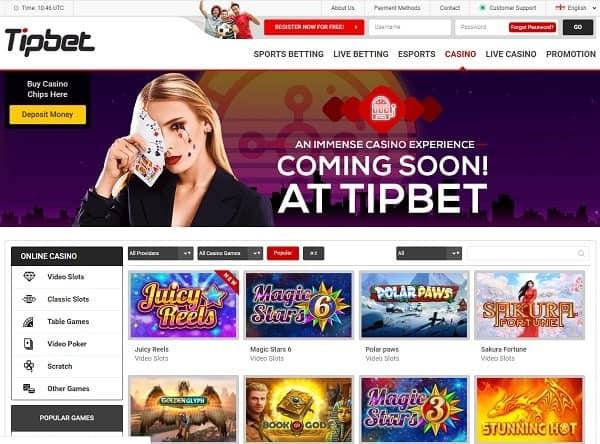 Tipbet.com 20 free spins bonus code