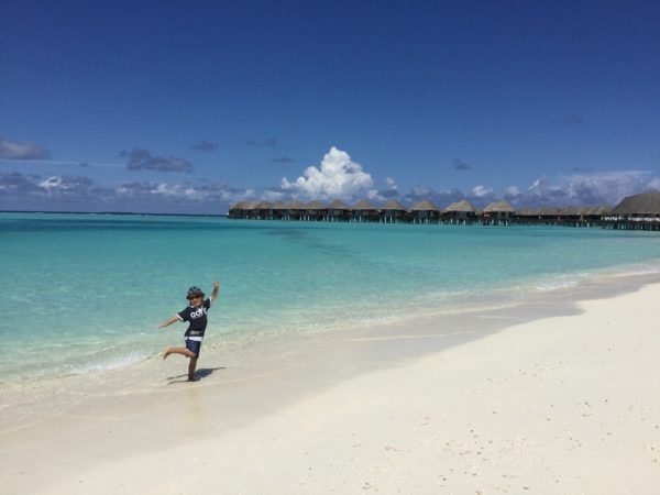 The beach is your backyard when exploring Maldives with kids